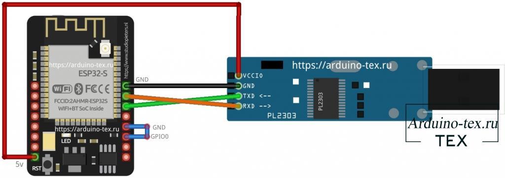 Для загрузки кода подключим PL2303HX к ESP32-CAM по схеме.
