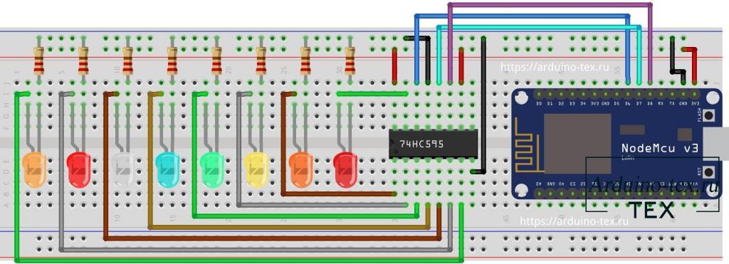 Схема подключения сдвигового регистра 74HC595 к NodeMCU.