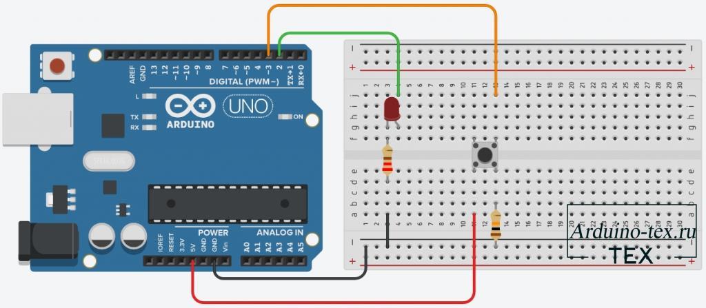Схема подключения кнопки к Arduino.