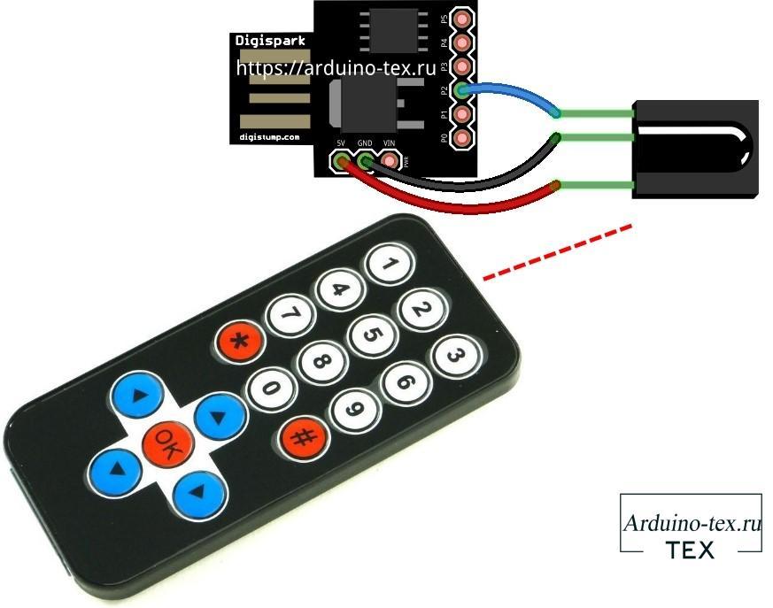 Второй вариант схемы устройства удаленного управления ПК более компактный