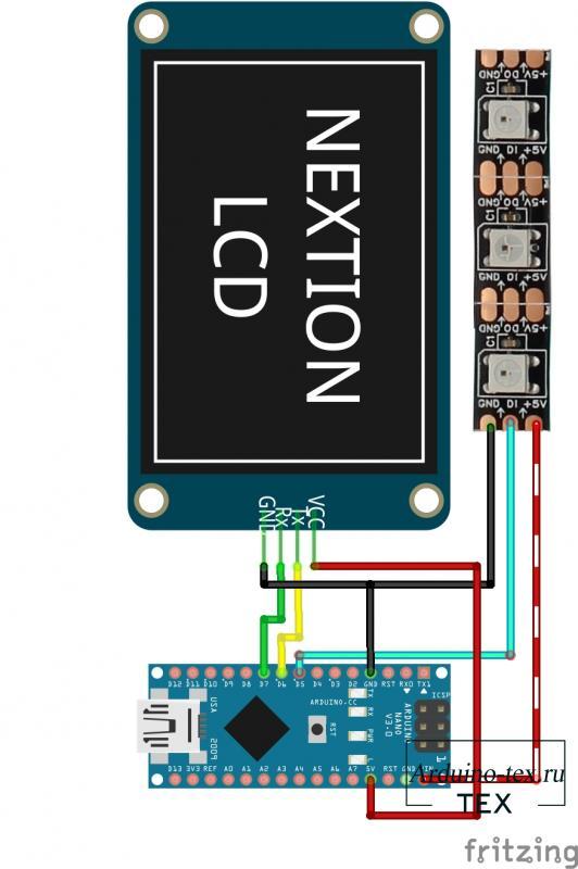 Схема подключения ws2812, Arduino NANO, Nextion.